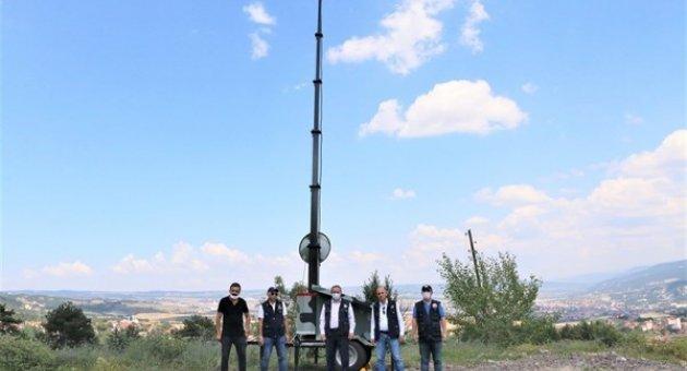 mobil yangın gözetleme kulesi kuruldu